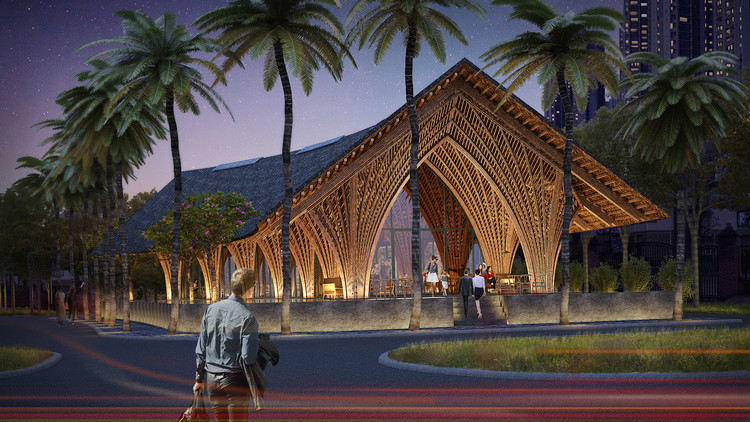 VTN Architects Creates Airtight Bamboo Pavilion in Xiamen, Night View rendering. Image Courtesy of VTN Architects