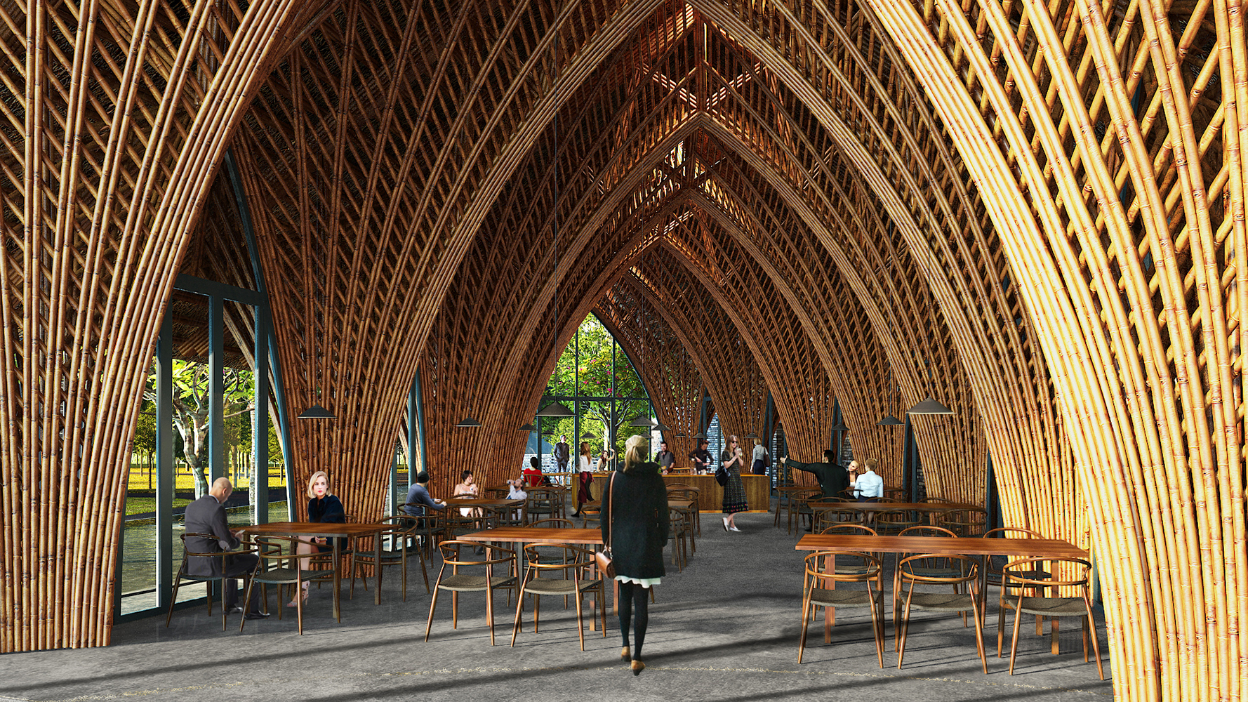 Gallery of vtn architects creates airtight bamboo pavilion - Bamboo designs for interior designing ...