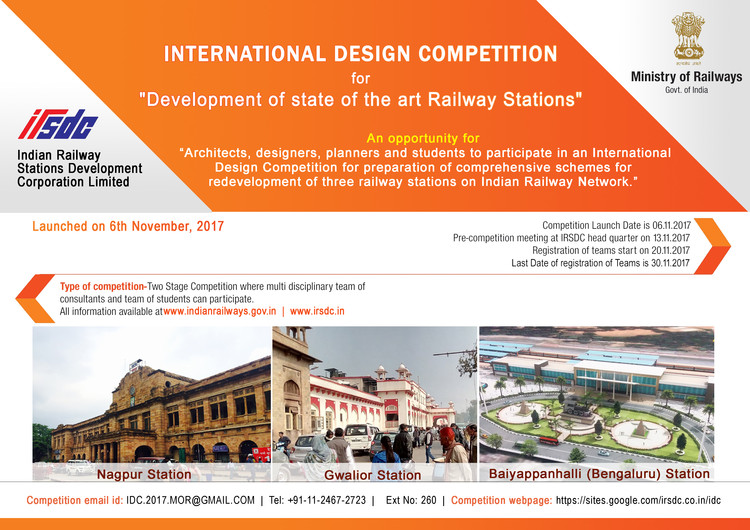 International Design Competition for Regeneration of 3 Railway Stations in India, IDC-2017-Poster