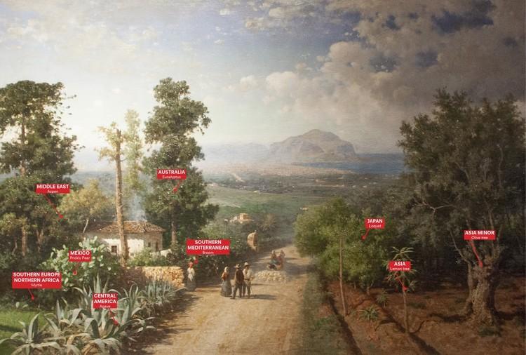 Curadores divulgam tema do Manifesta 12 Palermo: O Jardim Planetário. Cultivando Coexistência, Veduta di Palermo, Francesco Lojacono, 1875; Palermo Atlas. Cortesia de OMA