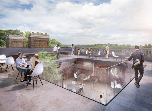 A re-imagined roof terrace directly above the Marble Hall. Image © Allies and Morrison