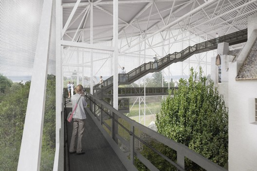 Viewing platforms will allow the house to be seen from new vantage points. Image Courtesy of Carmody Groarke