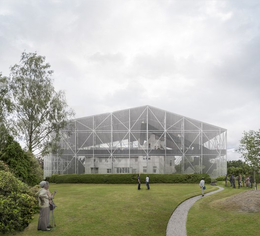 The structure will be maximally transparent as to preserve the house's relationship to its context. Image Courtesy of Carmody Groarke