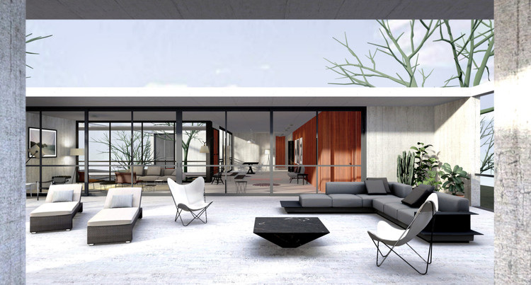 Explore Oscar Niemeyer's Unbuilt House in Israel with This 3D Model, Terrace. Image Courtesy of Archilogic