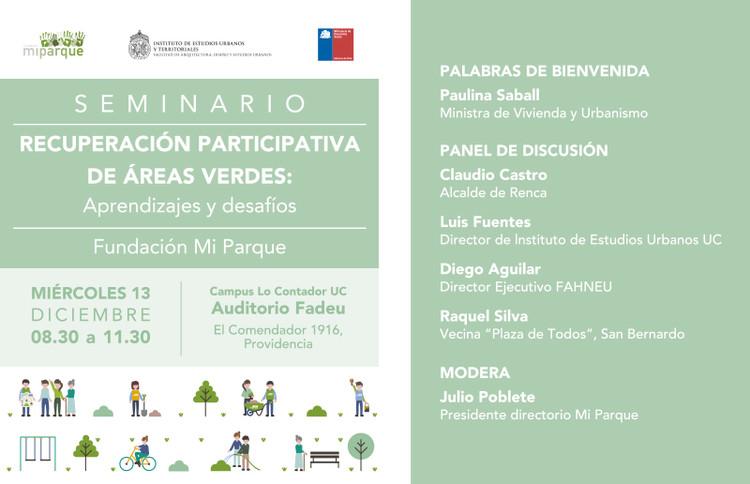 Seminario Mi Parque: 'Recuperación participativa de áreas verdes: aprendizajes y desafíos', Gráfica diseñada por Fundación Mi Parque