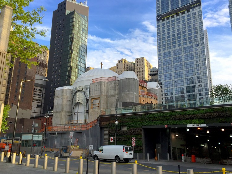 Construction Halts on Calatrava's St. Nicholas Shrine at the World Trade Center, The St. Nicholas National Shrine at the World Trade Center as seen in May 2017. Image © Flickr user rexblog. Licensed under CC BY 2.0