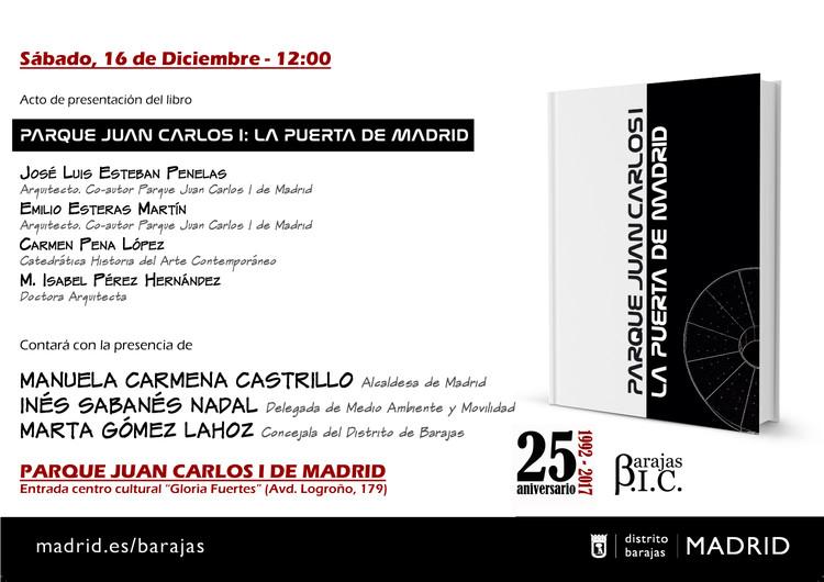 Presentación del libro 'Parque Juan Carlos I: la puerta de Madrid', Cartel del evento (Barajas BIC)