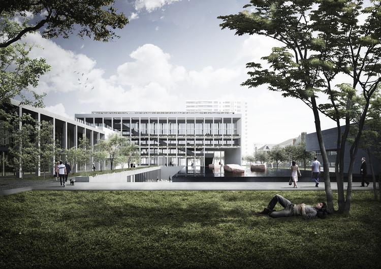 Albert Tidy Arquitectos + Studio Cáceres Lazo, mención honrosa concurso edificio municipal Providencia y su plan maestro , Espejo de agua. Image Cortesía de Equipo Mención Honrosa