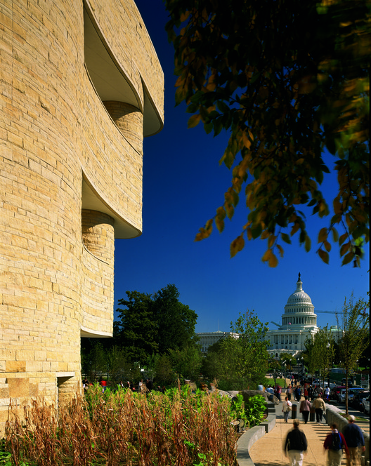Call for Entries: National Native American Veterans Memorial Design in Washington, DC, Looking east towards the U.S. Capitol from the museum's croplands, 2004. © Maxwell MacKenzie