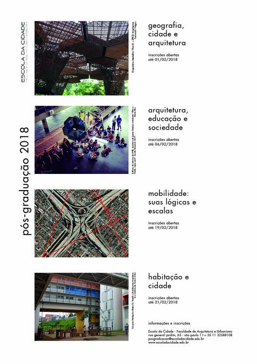 Escola da Cidade abre inscrições para pós-graduação 2018,  A Escola da Cidade – Faculdade de Arquitetura e Urbanismo está com inscrições abertas para quatro cursos de pós-graduação lato sensu.