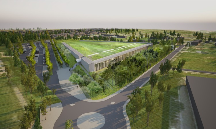 Rogers Stirk Harbour + Partners Breaks Ground on Green Roof Topped Louvre Storage Facility , Renderings of the project. Image Courtesy of Rogers Stirk Harbour + Partners