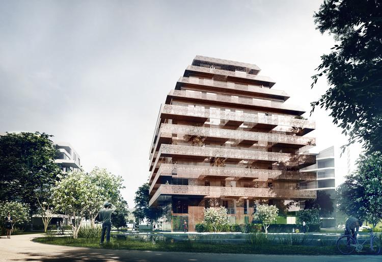 Reiulf Ramstad Arkitekter Unveils Copper Clad Residential Tower in Ski, Norway, © Reiulf Ramstad Arkitekter
