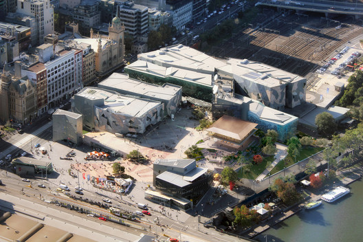 Apple will increase the public space within Federation Square and improve access to the Yarra River. Image Courtesy of Apple
