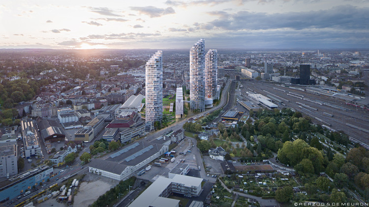 Herzog & de Meuron Wins Competition for Masterplan Including Basel's Tallest Residential Towers, © Herzog & de Meuron