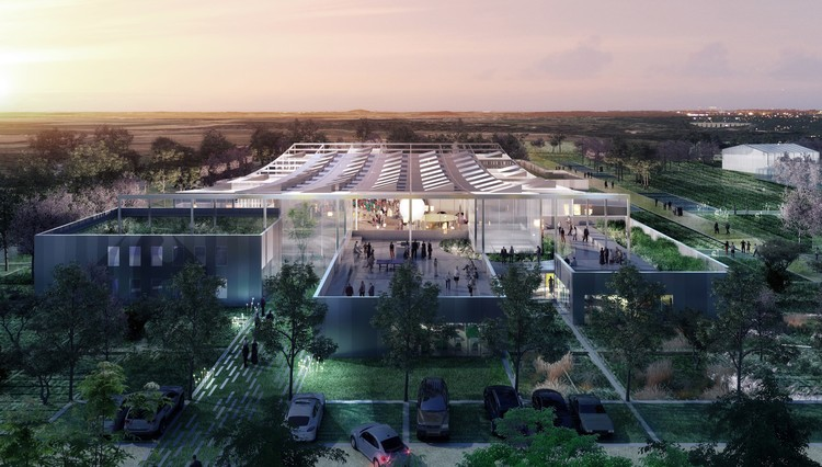 Clément Blanchet Architecture Designs Agriculturally Inspired Research Center for Carrefour in France's Silicon Valley, Courtesy of Clément Blanchet Architecture