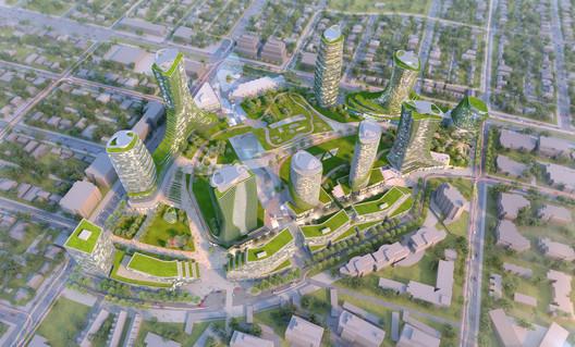 Oakridge Redevelopment Aerial. Image Courtesy of Henriquez Partners Architects