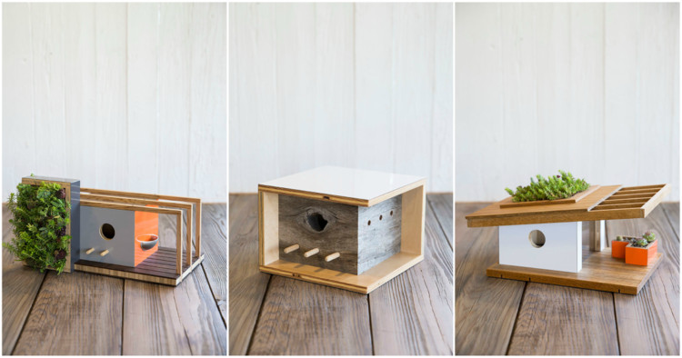these modernist birdhouses are inspired by famous architects archdaily