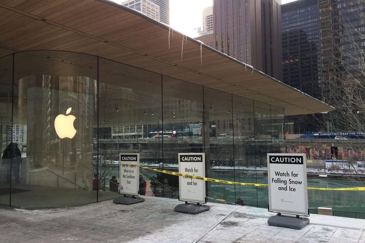 Apple's New Foster+Partners-Designed Chicago Flagship Store Battered by Winter Weather, Photo by Matt Maldre. Via the Verge.