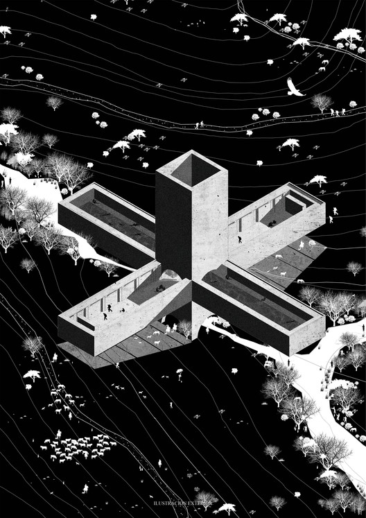 Archetypal Landscapes: 10 Projects From The Barozzi / Veiga Workshop in Chile, [E1] Universidad de las Américas. Image Courtesy of Facultad de Arquitectura USS