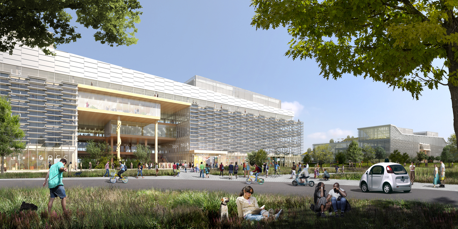 Google Reveals Plans for 1 Million Square Foot BIG-Designed Campus in Sunnyvale, California,Ground South View. Image Courtesy of Google
