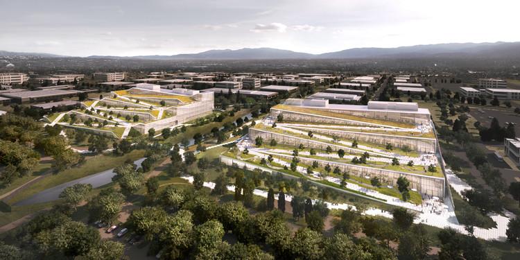 Google divulga novo campus projetado pelo BIG em Sunnyvale, Califórnia, Vista aérea. Image Cortesia de Google