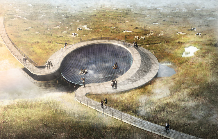 CF Møller's Nature Park is Designed to Flood to Save the Nearby Town, Courtesy of CF Møller