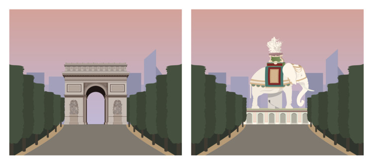The Arc de Triomphe as an Elephant?! These Illustrations Reveal What Famous Monuments Could Have Been, Courtesy of GoCompare