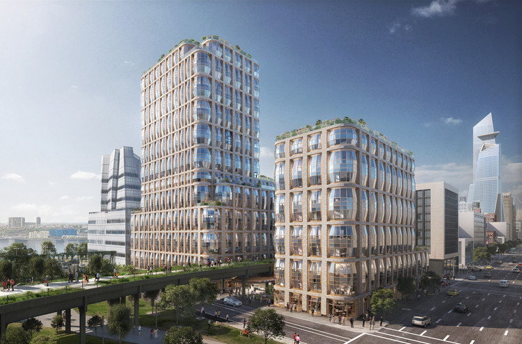 New Renderings Reveal Thomas Heatherwick's Design for Residential Towers Straddling NYC's Highline, Courtesy of Heatherwick Studio