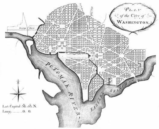 Andrew Ellicott's 1792 revision of Pierre Charles L'Enfant's plans for Washington DC. Image <a href='https://commons.wikimedia.org/wiki/File:L%27Enfant_plan.jpg'>via Wikimedia</a> in public domain