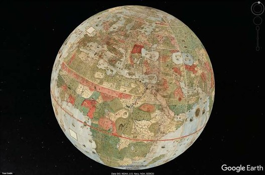 Map Projection seen by Google Earth. Image via David Raumsey Map Collection, Stanford University