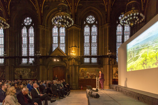 Lord Norman Foster speaking at the Royal Fine Art Commission Trust's annual lecture in Manchester last year. Image Courtesy of Royal Fine Art Commission Trust