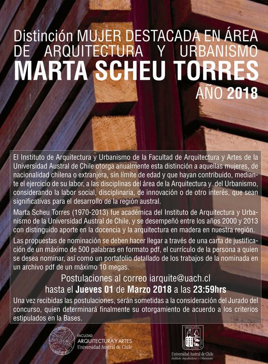 Abren convocatoria al Premio Marta Scheu Torres, otorgado a mujeres destacadas de la arquitectura y urbanismo, Instituto de Arquitectura y Urbanismo UACh
