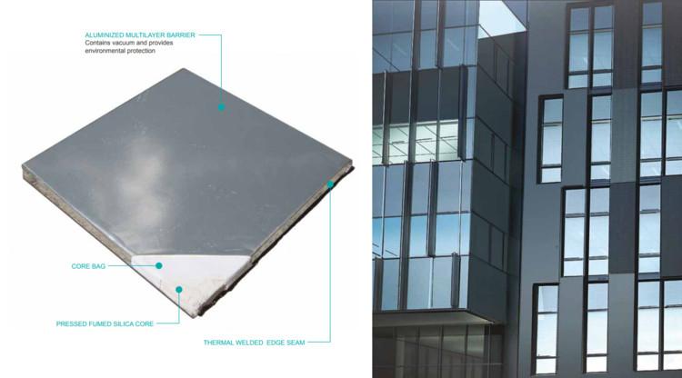Esta tecnologia de isolamento de vácuo de perfil fino tem o potencial de aumentar a resistência térmica em situações de espaço limitado e permitir edifícios de energia zero. Imagem Cortesia de Dow Corning
