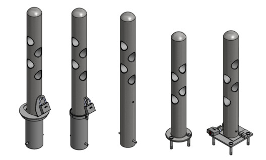 R-7972 Bike Bollard - 5 Available Mounting Options
