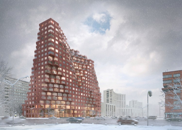 MVRDV References Moscow's Historic Architecture with Competition-Winning Mixed-Use Design, Winter Street View. Image © MVRDV