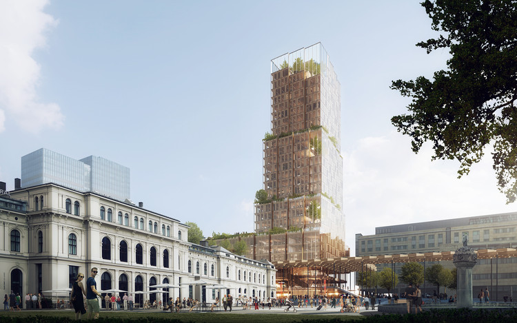 Reiulf Ramstad Arkitekter and C.F. Møller Win Competition for Mixed-Use Tower at Oslo Central Rail Station, © RRA + CFMøller