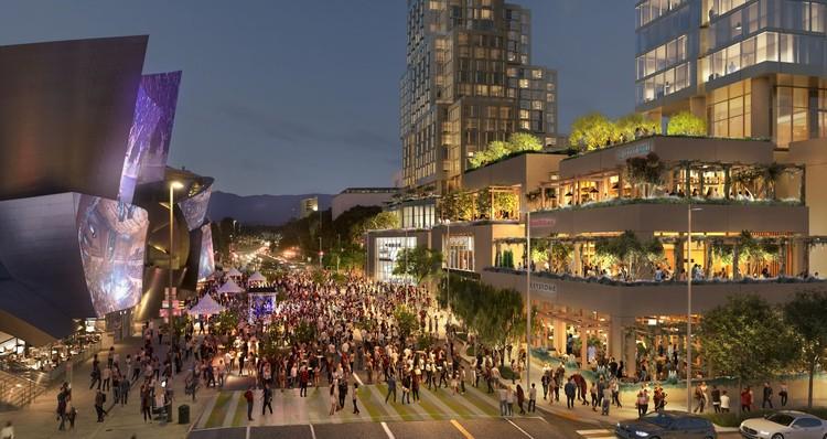 """""""Não estamos apenas construindo edifícios, estamos construindo lugares"""", diz Frank Gehry sobre o projeto na Grand Avenue de Los Angeles, Cortesia de Related / Gehry Partners"""
