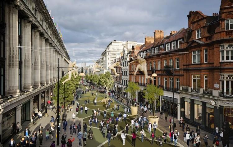 Ruas para pessoas, fim dos estacionamentos e ônibus movidos a café: Londres combate a poluição, Futura identidade visual da Oxford Street pedestrianizada ainda não está pronta. Imagem: TfL. Image via TheCityFix Brasil
