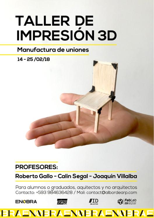 Taller de impresión 3D: manufactura de uniones en plástico, Derechos de la imagen ENOBRA©. Diseño Gráfico: REM