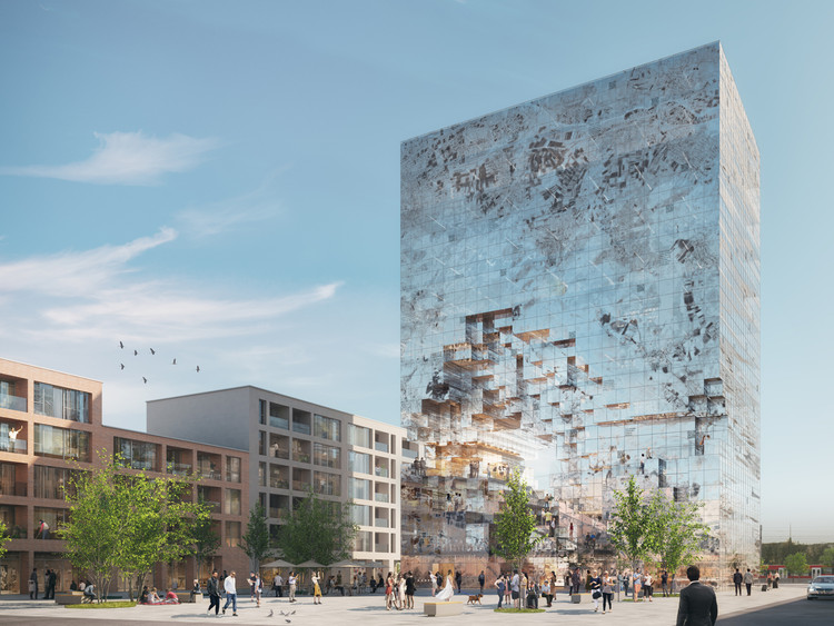 "MVRDV Design ""Crystal-Rock"" Facade for Mixed-Use Building in Esslingen, © MVRDV"