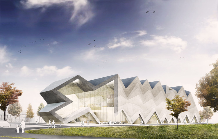 J. Mayer H. Architects Reveal Prize-Winning Design for Kärcher Museum in Germany, Front view. Image Courtesy of J. Mayer H. Architects