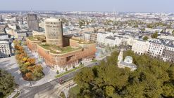 MVRDV Wrap Curving Retail Plinth Around Landmark Office Tower in Lodz
