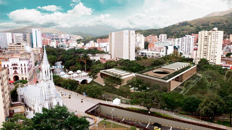 Centro de integración cultural Paseo Bolívar, una propuesta universitaria para el centro de Cali, Lámina 01. Image Cortesía de Ángela Puerta Gaviria + Carolina Delgado Quintero
