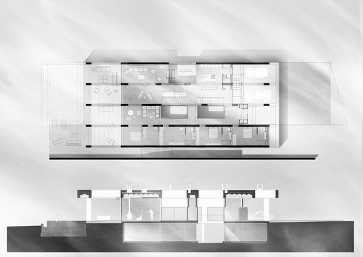 Ground floor plan + Longitudinal section