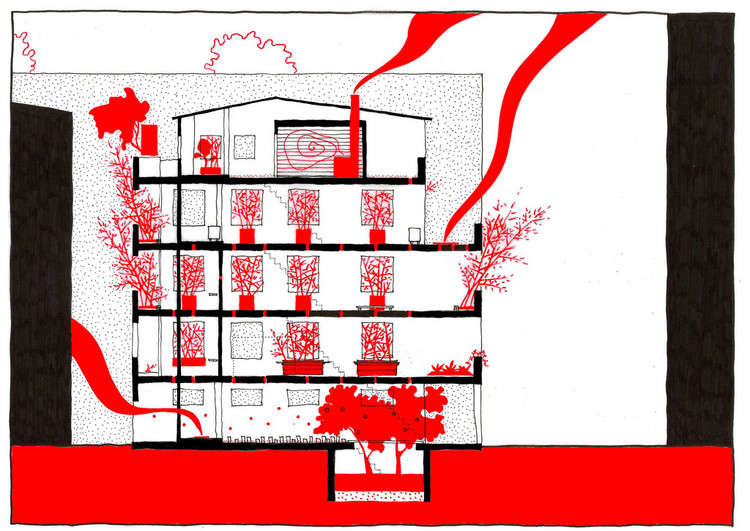"Corte do projeto ""Ruin Academy"" de Marco Casagrande"