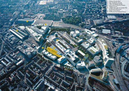 An aerial view of Bennetts Associates' plans for their King's Cross development. Image © Bennetts Associates