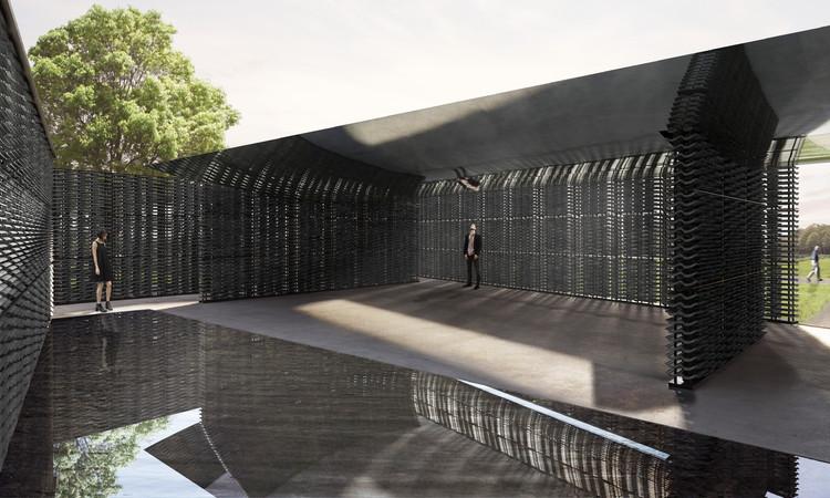 Arquiteta mexicana Frida Escobedo é escolhida para projetar o Serpentine Pavilion de 2018, Renderização do espaço interno. Imagem © Frida Escobedo, Taller de Arquitectura, Renderizações por Atmósfera
