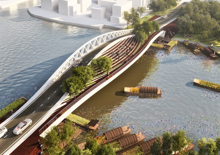 MVRDV Reveals Design For Dawn Bridge, A 80m-Long Dual Use Crossing in Shanghai, © MVRDV