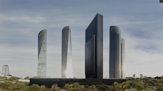 """Visualización del Campus IE University junto al complejo """"Cuatro Torres"""" en Madrid. Image Cortesía de Serrano Suñer Arquitectura + Fenwick Iribarren"""