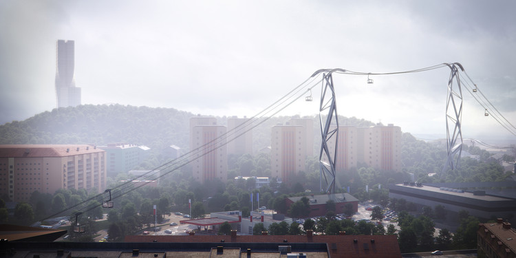 UNStudio Selected to Design New Cable Car in Gothenburg, © Plompmozes